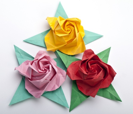 Three origami roses, flowers, a white background photo