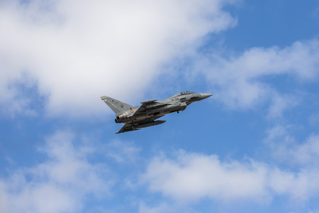 afterburner: GRAN CANARIA, ESPAÑA - JANUARY 25: Spanish Air Force Eurofighter Typhoon flying during the DACT17 Exercises. January 25, 2017 in Gran Canara, Spain. Editorial