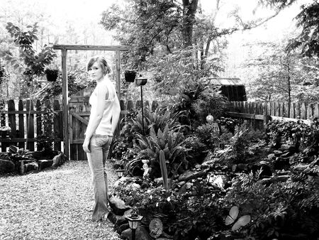 Girl in Garden (Black and White) Stock Photo - 5893896