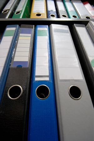 File folders, towering over the viewer. Focus is on the middle of the bottom row. Stock Photo - 3021678