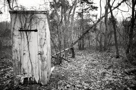 outhouse: An old abandoned outhouse is falling apart in the woods.