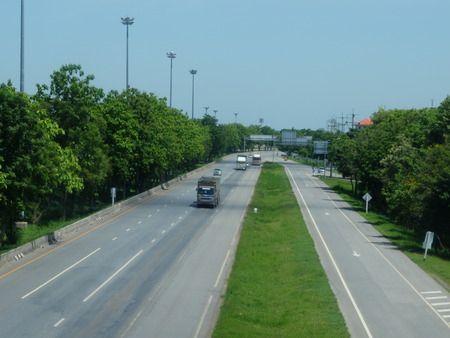 Two line, wide road with curve, highway photo