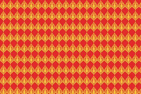 thai silk: thai art pattern yellow and red