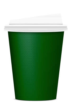 cup: green paper cup on white background