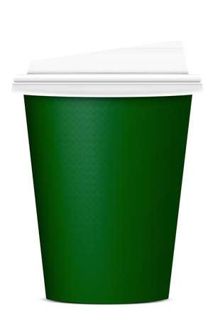 taza cafe: vaso de papel verde sobre fondo blanco Foto de archivo