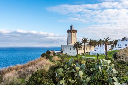 Lighthouse at the cape Spartel in Tangier, Morocco Stockfoto - 128961701