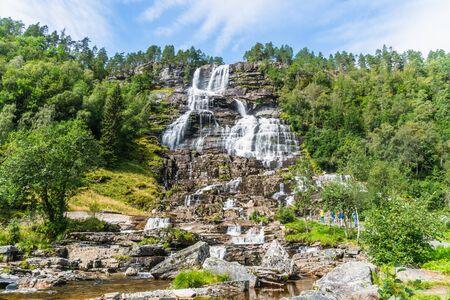 The beautiful Tvindefossen Waterfall, Voss, in summer Norway