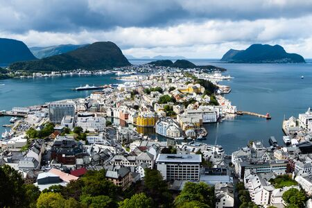 view of Alesund port town on the west coast of Norway