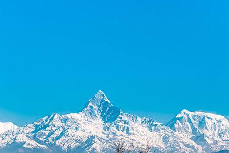 Machapuchare Mountain Nepal Fish Tail Mountain in Nepal. Stock Photo