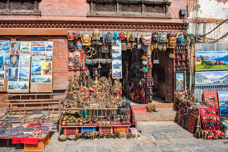 KATHMANDU, NEPAL - JAN 25, 2020:A bunch of items that are on display in a store