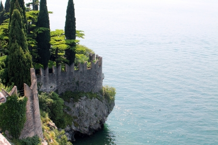 fortress wall on lake Garda in Italy photo