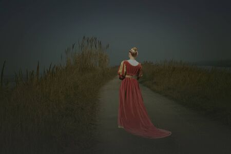 beautiful lady wearing a red medieval fantasy gown Фото со стока