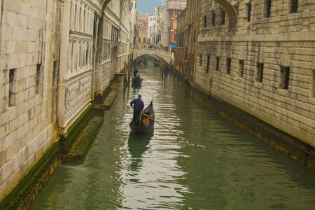 Beautiful scene with traditional gondola and canal in Venice, Italy Stock Photo
