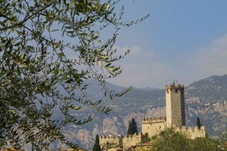 crenelation: Scaliger Castle of Malcesine on the Veneto shore of Garda Lake, Stock Photo