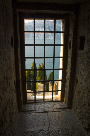 View from the window of the Scaligers Castle in Malcesine Italy