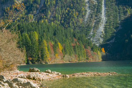 autumnal view of the Tovel Lake, Trentino Italy. Stock Photo