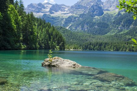 springl view of the Tovel Lake,clear water , Trentino Italy.