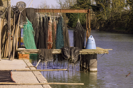 Fishing nets with floats on the waterfront