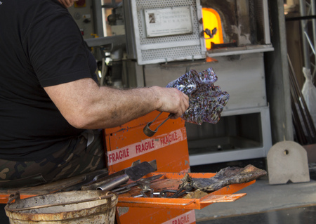 Glassmaker , manufacturing glass products from Venetian glass.Venice.Italy