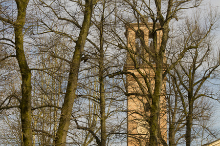 ancient medieval bell tower against the backround of spring trees Stock Photo