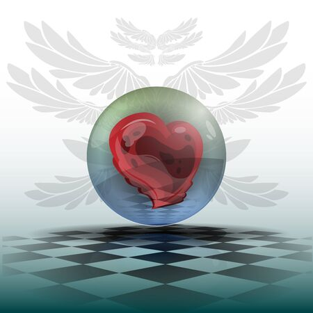 shiny heart: Red shiny heart in greenish marble