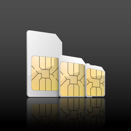 Sim card set background with normal sim card, micro sim card and nano sim card