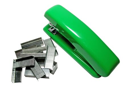staples: The Stapler & staples integral part office and paper-work. The Staple possible to clamp all Stock Photo