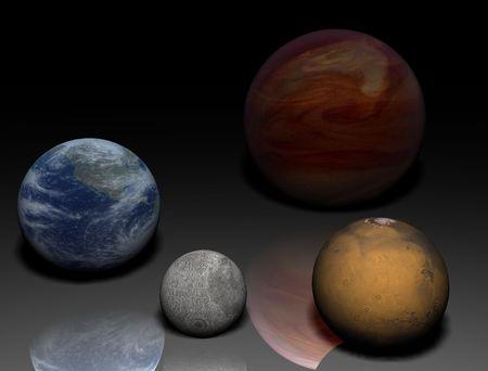 penumbra: Solar systems planets - Earth, Mars, Jupiter, Moon Stock Photo