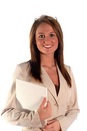 Serious business woman with paper work