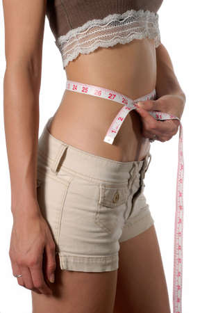 Female waist being measured english measurement Stock Photo - 3323622