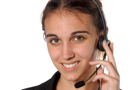 Female contact person with telephone headset Stok Fotoğraf
