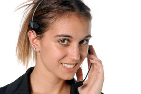Female contact person with telephone headset Stock Photo