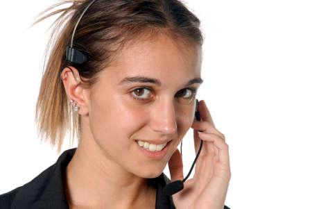 Mujeres persona de contacto con teléfono manos libres Foto de archivo - 3413716