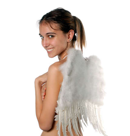 sexy woman standing: Young woman with angle wings.