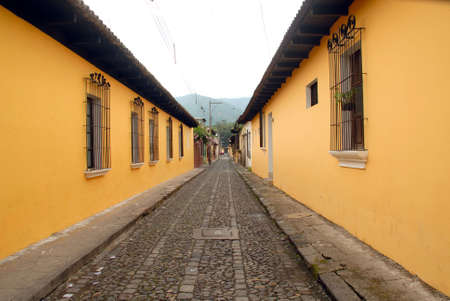 Cobble stone streets, and colorful houses of Antigua Guatemala