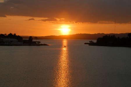 Sunset on the lake around Flores Guatemala Stok Fotoğraf - 3536221