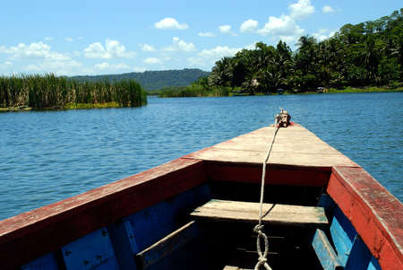 Next Island stop from the bow of a boat or plancha headed toward it.r
