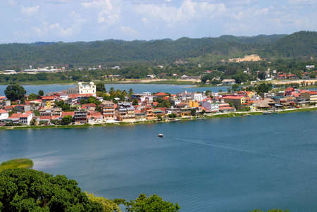 Lake around tourism town of Flores Guatemala Central America\r