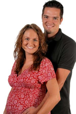 母と白い背景の上にお互いを保持して生まれた新しい未来の父 写真素材