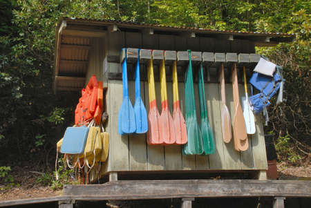 Waterfront supply hut for boating activities, including canoeing. Stock Photo