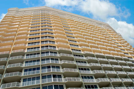 The sky is limit of this high rise hotel in Panama City Florida. Balcony side view from ground up as seen from the ocean.