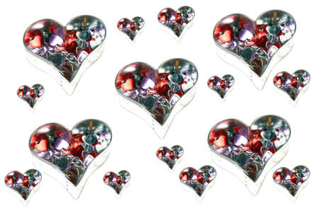 multiples: Surreal Valentines hearts on white background.