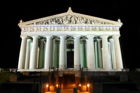 Replica of Parthenon in Greece tourist attraction Nashville night-scape. Greek gods supported by huge columns that surround the building.. Stock Photo