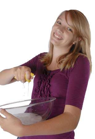 Young girl washing dish Stock Photo