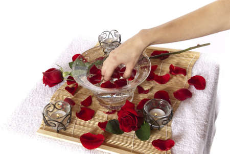 Rose petal hand spa treatment  Aromatherapy while woman soaks hand in water ready for manicure  White background