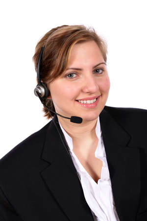 helpdesk: Beautiful blond with headset ready to take calls as your customer service representative, answering service, hot line, contact, helpdesk or just an office operator  Stock Photo
