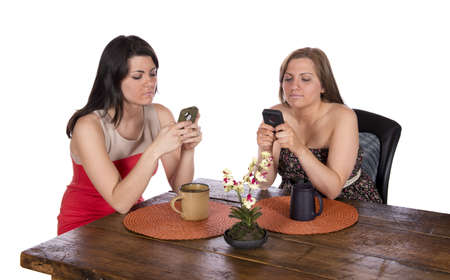 Two happy women sitting at a table using cell phones, each with a cup of coffee
