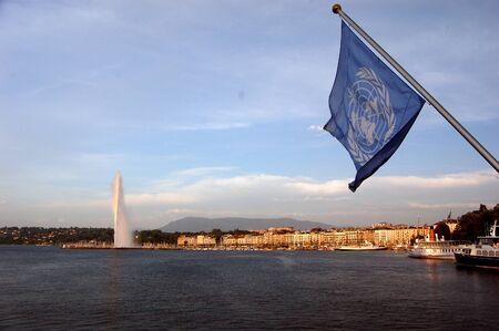nazioni unite: Bandiera delle Nazioni Unite - Ginevra, Svizzera