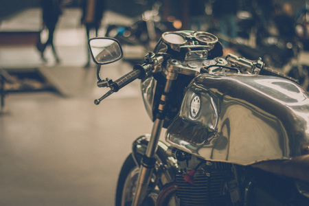 BREDA, NETHERLANDS - AUGUST 26 2018: Motors are shining at a Dutch motor event especially for the scrambler enthusiasts