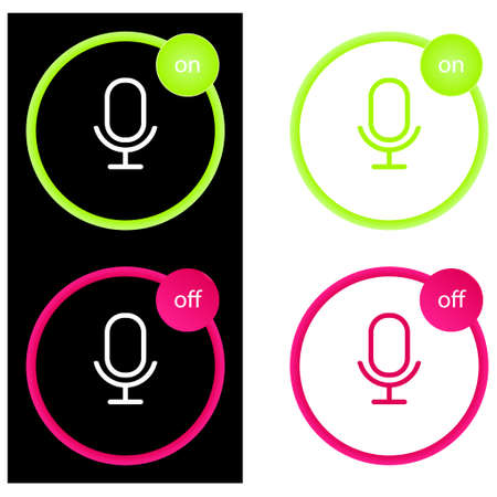 Microphone four color glass button ui ux icon. Glossy app icon logo vector. Set of vector icons on and off microphone.